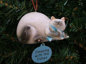 New Chubby Cat Siamese Kitty Kitten Fish Christmas Tree Ornament Pet Animal