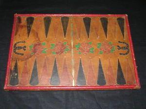 Vintage Antique Folk Art Western Cowboy Tooled Leather Backgammon Board Game
