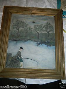 Folk Art Antique Vintage Oil on Board Boy Fishing Lake Framed Lovely Cabin Art
