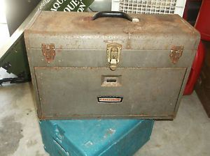 Vintage Retro Metal Craftsman 7 Drawer Machinist Tool Box Chest Art Box