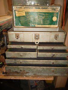 Vtg Machinist Union Steel Toolbox Tool Chest Steampunk Mechanic Art Deco