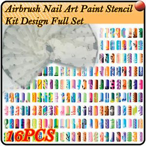 Airbrush Paint Stencil Nail Art Design Tool Kit ES206