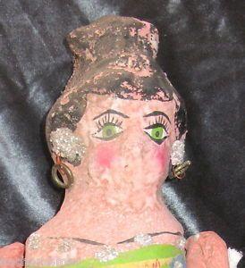 RARE Antique Mexican Folk Art Paper Mache Doll Mica Earrings Hair Do