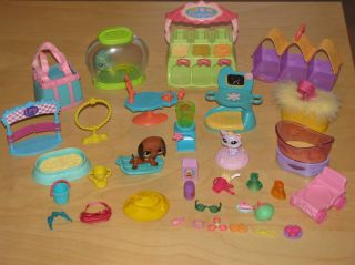 Littlest Pet Shop Accessories Pets Dachshund Fish Xray Food Huge LPS Lot