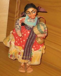 RARE Antique Mexican Paper Mache Cloth Straw Woman Folk Art Doll Baskets
