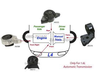 95 99 Nissan Sentra 1 6L Engine Motor Trans Mount Set 4pcs for Auto Trans