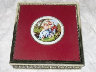 Western Germany Metal Art Repousse Romantic Renaissance Scene Tin Box Container