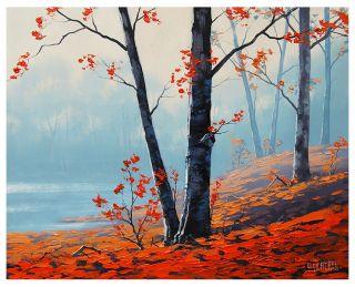 Gercken Original Oil Painting Red Autumn Leaves Trees Misty River Landscape