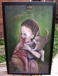 Original Oil Painting by Magitis Dark Surreal Horror Zombie Gore Fairy Tale