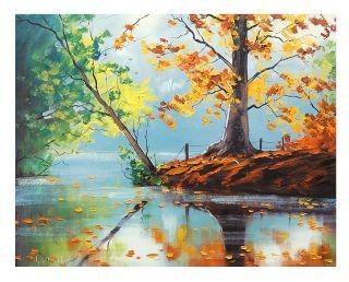 Gercken Autumn Trees River Lake Impressionism Landscape Original Oil Painting