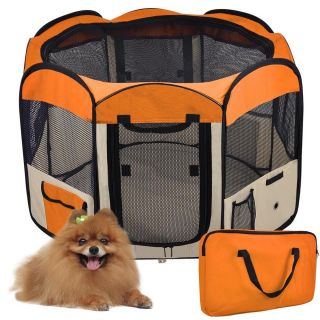 57x57x37 Large Orange Pet Cat Dog Guinea Pig Playpen Exercise Puppy Kennel Crate