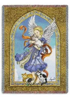 Guardian Angel of Kitty Tiger Cats Cat Lover Tapestry Throw Afghan Blanket