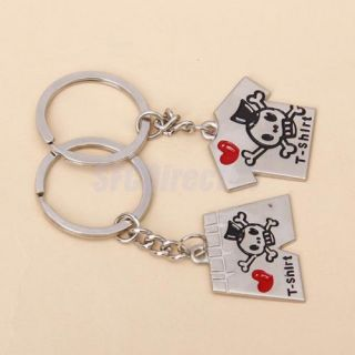 Cool Skull Engraved Heart T Shirt Pants Suit Set Lovers Keychain Fob Ring Gift
