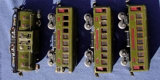 Pre War Olive Green Lionel 254 Engine 610 612 Cars Set 4 as Shown