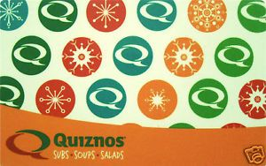 Quiznos Gift Card Collectible No Value