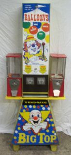 Bozo The Clown Big Top Balloons Vending Machine by Vend Rite w Gumball Machines