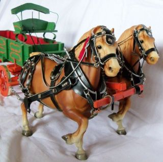 Vintage Breyer Horse Drawn Farm Wagon Team with Harnesses Belgian Work Cargo