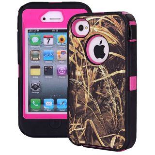 Heavy Duty Straw Grass Real Tree Camo Defender Case for iPhone 4 4S Pink