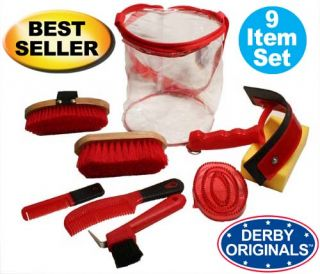 Derby Originals Deluxe Horse Grooming Kit 9 Items Red 91 7034