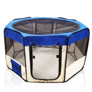 "35"" Wide Blue 2 Door Soft Pet Playpen Dog Guinea Pig Puppy Exercise Pen Kennel"