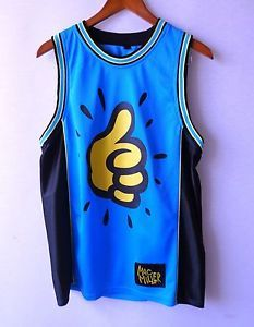Mac Miller Basketball Jersey Dope Jersey Thumbs Up Blue Size Small