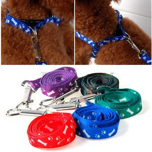 1x Cute Bone Paws Printed Small Pet Dogs Puppy Pulling Harness Lead Leash Rope