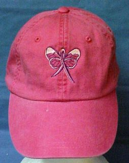 Breast Cancer Butterfly Ribbon Baseball Hat Hot Pink