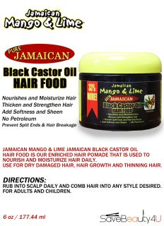 6pc Jamaican Mango Lime Pure Jamaican Black Castor Oil Hair Food Nourish 6oz