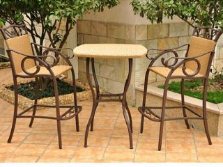 Valencia Resin Wicker Steel Bar Bistro Set Table Chairs