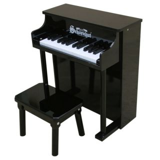 Spinet Traditional Upright Mini Piano 25 Key Black from Brookstone