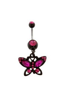 Morbid Metals 14G Black And Fuchsia Butterfly Navel Barbell