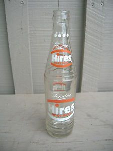 Old Vintage Genuine Hires Root Beer Beverages Soda Pop Bottle 10 FL Oz