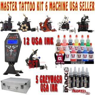 Complete Master Tattoo Kit 6 Machine Set 17 Full Sz US Ink Coffin Power Supply