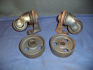 Vintage Antique  Floor Jack Cast Iron Industrial Caster Wheels