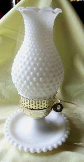 Vintage Electric White Milk Glass Hobnail Design Hurricane Table Lamp