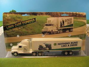 Ertl Diecast Freightliner Tractor Trailer John Deere Lawn Care Vintage USA 1 64
