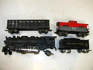Marx Train Set 666 Die Cast Steam Engine NYC Tender 2 Freight Cars VG