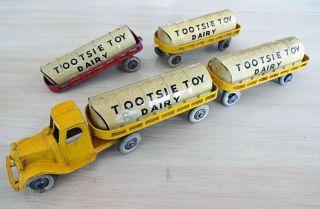Vintage Tootsietoy Mack Dairy Truck 4 Trailers