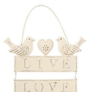 Vintage Style Bird 'Live Love Laugh' Decoration Sign Shabby Chic Gift