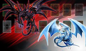 Yugioh Blue Eyes White Dragon vs Red Eyes Black Dragon Custom Playmat Gamemat