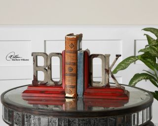"""Tuscan French Country Wood """"Book"""" Bookends"""