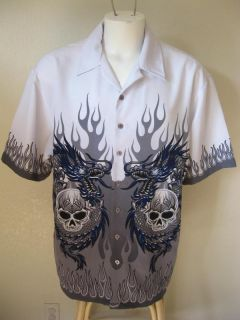 Mens Level Ten XL White Gray Flames Dragon Skulls Tattoo Biker Bowling Shirt