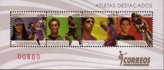 Costa Rica Featured Athletes Boxing Sprinter Soccer Cyclist SC 641 MNH 2011