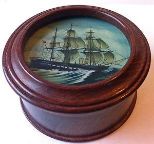 Reverse Painting on Glass American Sailing SHIP Boat Marine Wood Trinket Box