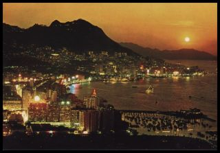 Central Eastern City Districts Evening View Hong Kong c1970s Original Postcard