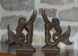 Mermaid Bookends Book End Set of 2 New Cast Iron or A Set of Doorstops