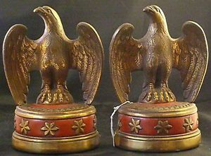 Pair Vintage Bronze Clad American Eagle Bookends Book Ends Red Star Bottoms