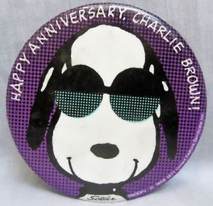 Happy Anniversary Charlie Brown Snoopy Promo Button