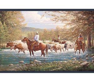 Wallpaper Border Western Horses Cowboy Cattle Drive Blue Trim