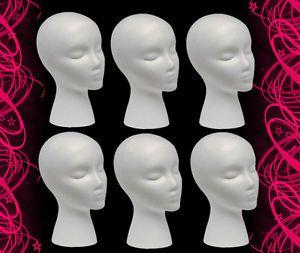 6 Female Mannequin Manikin Styrofoam Head Mount Whole Wigs Hats Retail